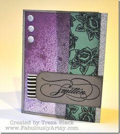 Smitten card with CTMH January SOTM & Lindy's Stamp Gang Starburst spray. FabulouslyArtsy.com, by Tresa Black.