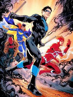 Nightwing, Red Hood, Batgirl and Kid Flash (by: Ivan Reis) Nightwing, Batgirl, Gotham City, Marvel Vs, Marvel Comics, Best Dc Comics, Comic Book Covers, Comic Books Art, Comic Art