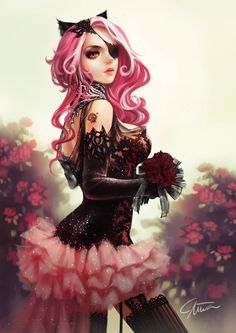 ~\(≧▽≦)/~ Picture  (2d, fantasy, girl, woman, pink hair)