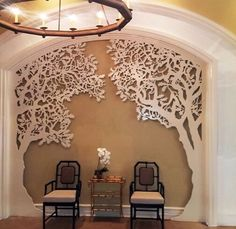 Lightwave Laser creates laser cut panels, lighting, home accessories, wall art, and gift products. We are a leader in lasercutting and have a large selection of patterns for laser cut wood and other materials. Wood Panel Walls, Wood Paneling, Wooden Walls, Decoration Hall, Wall Design, House Design, Laser Cut Screens, Laser Cut Panels, Interior And Exterior