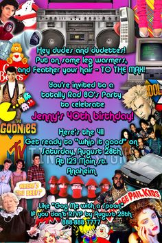 80's invitation wording ideas | Details about 80's Birthday Party Invitations favor 1980's custom ...
