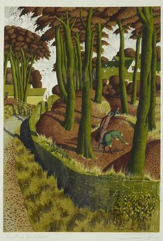 Simon Palmer (British, born 1956) 'Hunting for Ceps' signed twice 'Simon…