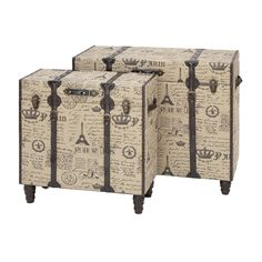 Paris Fabric Trunks   Set Of Fun. Would Be Cooler With ITALIAN Accents But  Its A Start For Travelers Or Planners