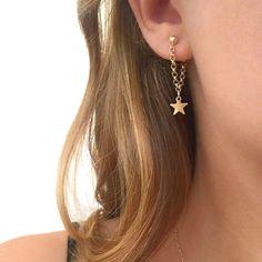 Unique Statement Cute Dangle Chain Star Stud Earrings in Gold or Silver - pendientes de cadena de estrellas - www.MyBodiArt.com