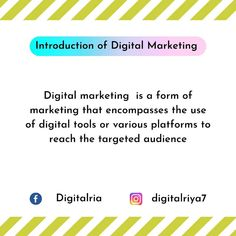 Hey everyone, hope you all are doing well. So yesterday I shared a video on introduction to Digital Marketing. Now I'm uploading in graphic form so that you can easily understand the basic concept of Digital Marketing. Read the definition of Digital Marketing and share your views with me @digitalriya7 and also tell me in the comment section that you are enjoying my sessions or it is helpful for you to understand easily. #digitalmarketing #introductiontodigitalmarketing… Definitions, Digital Marketing, Reading, Reading Books