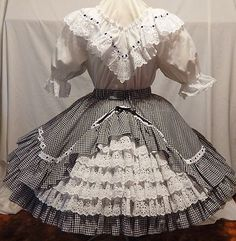 2 PC Rhythm Creations White Blouse and Checked Skirt Square Dance Dress | eBay
