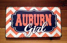 Auburn University Orange and Navy Chevron Wood by SignNiche, $25.00