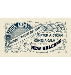 Old card with floral details vector. Vintage new orleans design - by roverto on…