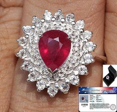 STUNNING 3.85 cts RUBY & WHITE TOPAZ RING SOLID 925SS S#7.5 FREE SHIPPING #JPS #Vintage