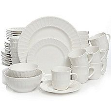 Bed, Bath & Beyond - Gibson Home Heritage Place 48-Piece Stoneware Dinnerware Set in White - $99.99