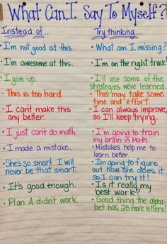 "File this under Growth MIndset tools! This is a wonderful anchor chart. Perhaps one of the few times I might include the ""what not to do"" when coaching, teaching or modeling! Self-coaching is a great tool to prepare the mind for the journey ahead."
