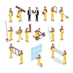 Isometric builder construction worker Premium Vector