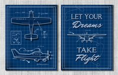 Nursery Wall Art - Airplanes - Transportation Themed Nursery - Baby Boy or Kids Room - Set of 2 Digital Files on Etsy, $15.00