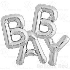 Amazon.com: 16 Inch Foil Mylar Balloons Bouquet for Wall Decoration (Premium Quality, Air-Fill Only), Glossy Silver, Letters BABY: Toys & Games
