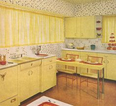 Retro Yellow Kitchen - Better Homes & Gardens Decorating Book 1961 Retro Room, Vintage Room, Vintage Kitchen, Vintage Decor, 1960s Kitchen, Better Homes And Gardens, Unique Garden, Living Vintage, Vintage Interiors
