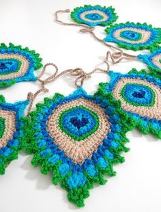 """free crochet pattern, the French Mini Peacock Feather (you can read why it is called """"French"""" in my previous post). Peacock Crochet, Crochet Feather, Knit Or Crochet, Crochet Crafts, Easy Crochet, Crochet Flowers, Crochet Projects, Crochet Motif Patterns, Crochet Designs"""