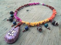 Upcycled Recycled Repurposed Fiber necklace  by EarthChildArt, $27.00