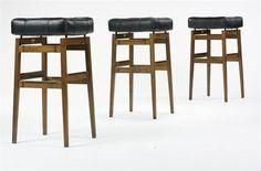 Gio Ponti stools, set of three Cassina Italy, 1967 Italian walnut, l