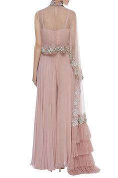 Buy Pleated Jumpsuit With draped Ruffle Cape by Mani Bhatia at Aza Fashions Indian Designer Outfits, Indian Outfits, Designer Dresses, Designer Clothing, Shrug For Dresses, Indian Gowns Dresses, Heavy Dresses, Simple Gowns, Dress Indian Style