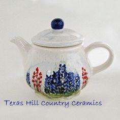 Ceramic Country Style Teapot Field of Bluebonnets Original Design   TexasCeramics - Housewares on ArtFire
