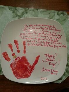"""My 12 year old daughter made this for her dad for Father's Day. It says, """"This little hand won't be small for long, there are still some things that I'll do wrong, so hold my hand and guide my ways, Because sooner than you think will come a day, my Prince Charming will sweep me of my feet, he'll propose an offer that can't be beat. He'll put a ring on my finger and I'll be his, then I'll hold the little hands of my own kids."""