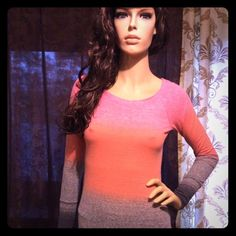 Pink Coral Gray Ombre Long Sleeve Top EUC Photos are taken in the best possible lighting available to me. Although color may be lighter than pictured. I work hard on these listings to give you an idea of what this garment will look like when worn and styled. Most everything is gently used in pre-owned condition, at the bottom of each listing will be a few notes about the individual item. Please ask me any questions. Accessories not included. *Good condition. Stretchy. American Eagle…