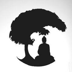 Gautama Buddha Under Bonsai Tree Wall Sticker Cut It Out Wall Stickers Colour: Black Buddha Artwork, Buddha Painting, Gautama Buddha, Lord Buddha Wallpapers, Bonsai Tree Tattoos, Buddha Tattoo Design, Buddha Drawing, Bodhi Tree, Tree Wall