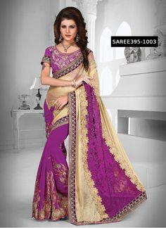 Purple & Cream Net With Georgette Fabulous Designer Saree @ Rs.1499  #Latest #DesignerSaree #Heavy #banarasi