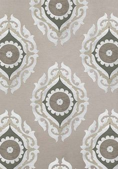 French Suzani woven fabric in Tuape and Grey