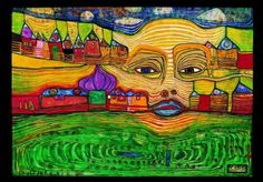 Artist Friedensreich Hundertwasser looks at architecture and landscape bringing  nature, art and humans into one