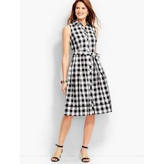 Talbots Women's Gingham Shirtdress ($149) ❤ liked on Polyvore featuring dresses, t-shirt dresses, collared shirt dress, white sleeveless dress, white crochet dresses and fit and flare dress