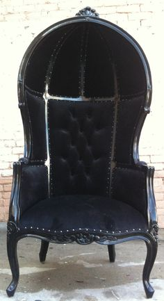 Black Porters Chair Domed Queen King Throne by VENETIANSOCIETY, $995.00