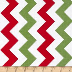 Holiday Table Runner in Red, White & Green Chevron by Riley Blake
