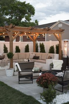 Small Backyard Patio Ideas is among the design tips that you can utilize to reference your Patio. Today many men and women put patio in their yard, Backyard Patio Designs, Small Backyard Landscaping, Backyard Pergola, Diy Patio, Backyard Lighting, Landscaping Ideas, Pergola Kits, Small Pergola, Outdoor Pergola