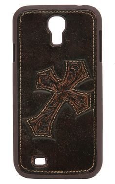 Nocona Distressed Brown Leather w/ Cross Galaxy S4 Phone Case