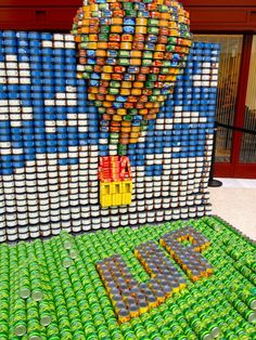 "Cans create a display honoring the Disney movie ""Up"" - at CANstruction Exhibit at One Market Plaza benefiting the San Francisco and Marin Food Banks in 2012.  It's a movie-themed sculpture garden made up entirely of cans!"