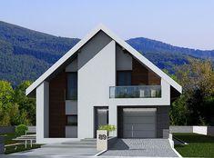 DOM.PL™ - Projekt domu DPS Boston CE - DOM DPS1-02 - gotowy koszt budowy Flat House Design, Minimal House Design, Best Modern House Design, Bungalow House Design, Minimal Home, Modern House Plans, Minimalist Architecture, Modern Architecture House, Chinese Architecture