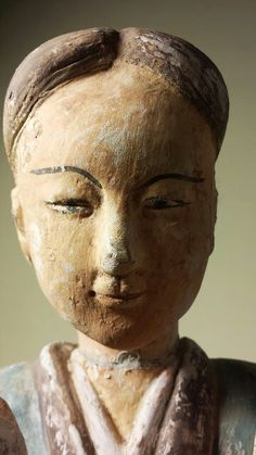 Han DynastyTomb Attendant, detail. painted Terracotta. China