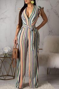 Women New Stylish Roaso Contracted Style Striped Jumpsuit Multi Casual Jumpsuit, Striped Jumpsuit, Style Outfits, Fashion Outfits, Jumpsuit With Sleeves, Flutter Sleeve, Jumpsuits For Women, Long Jumpsuits, Sleeve Styles
