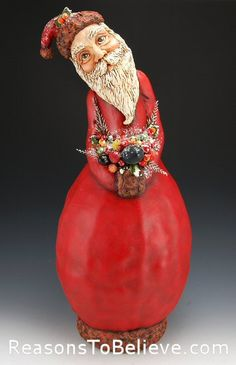 Bountiful Santa painted gourd with paper mache.  Awesome.  Love the face.