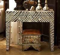 Bone Inlay Console Table from Jodhpur in Zebra Style