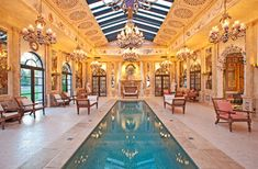 """Malibu, CA Home for Sale – $75,000,000. 26848 Pacific Coast Hwy, Malibu, CA. Notable: Known as """"La Villa Contenta,"""" this magnificent neoclassical-style natatorium in Malibu was used in the HBO miniseries,  """"True Blood"""" as the fictional home of the vampire queen of Louisiana,  Sophie-Anne Leclerq."""
