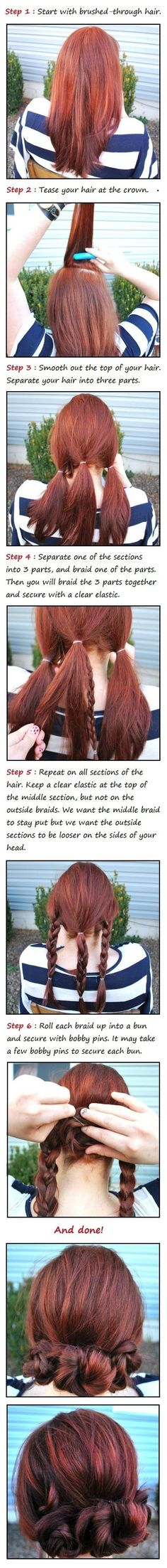 Simple braid buns make second-day hair even better than it was the day before. | 17 Ways To Never Have A Bad Hair Day Again