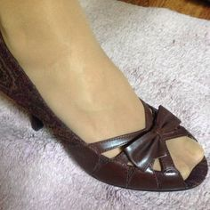 "Aeropostales 3"" peep toe heels Aeropostales 3"" heels made with upper fabric and man made materials. Wine undertone with paisley design. Aeropostale Shoes Heels"