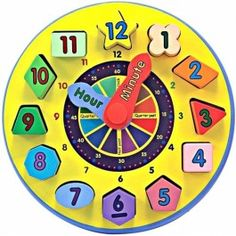 Wooden Shape Sorting Learning Clock Melissa and Doug Wooden Toy New Preschool Learning, Preschool Activities, Teaching Kids, Literacy Games, Montessori Preschool, Learning Clock, Learning Toys, Early Learning, Learn To Tell Time