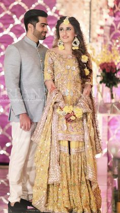 Pakistani Mehndi Dress, Bridal Mehndi Dresses, Desi Wedding Dresses, Pakistani Wedding Outfits, Bridal Lehenga, Bridal Looks, Bridal Style, Mayon Dresses, Pakistan Bride