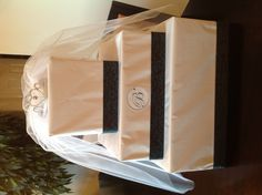 Bridal shower gift wrapping idea. Gift made to look like a cake.