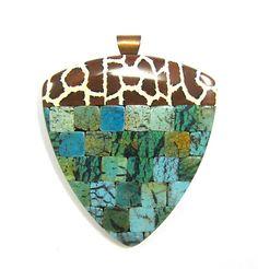 Fabulous Faux Collection - Giraffe Patchwork Mosaic Turquoise Shield Pendant