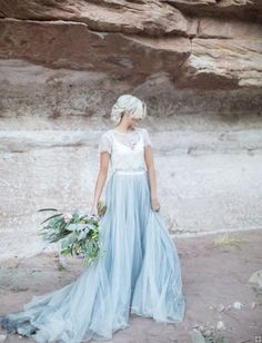 Two Piece Short Sleeve Lace A-line Blue Tulle Wedding Dress with Sleeves