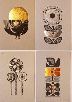 radiance: Sanna Annukka cards - leaves with heavy outlines